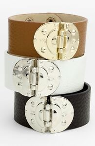 Cara New York Accessories Hinge Snap Leather Cuff Bracelet~Tan/Gold~NWT $45