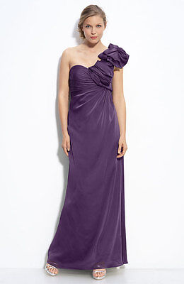 Adrianna Papell One Shoulder Chiffon Dress with Bow (size 14)^