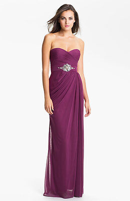 Adrianna Papell Strapless Draped Mesh Column Gown (Size 14)