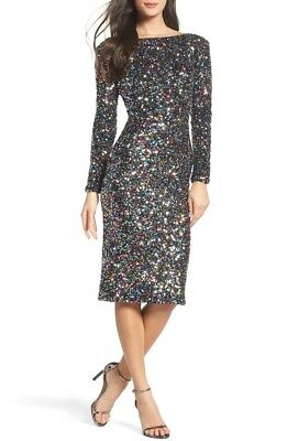 DRESS the POPULATION Black Confetti Rainbow Sequin Emery Long Sleeve Midi M (Confetti Sequins Dress)