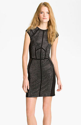Rebecca Taylor 'Nailhead' Studded Holiday Dress NWOT Size M $450 Sold Out!!