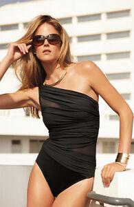 Miraclesuit Black 'Jena' One Piece Swimsuit Swim Suit Size 10
