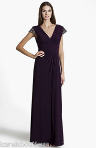 JS Boutique Embellished Pleated Surplice Gown Dress Purple Size 14
