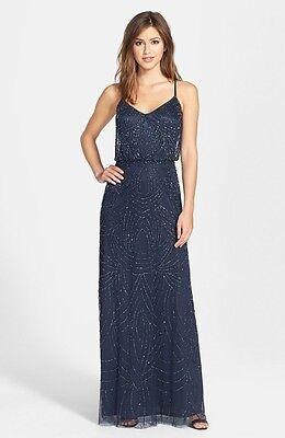 $280 ADRIANNA PAPELL Beaded Chiffon Blouson Gown Crisscross Back Wedding NAVY ()