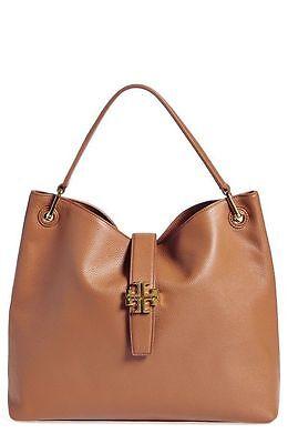 NWT $495+ Tory Burch PLAQUE Bark Camel Leather Hobo Shoulder Handbag Bag Brown
