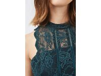 Brand New With Tags Dark Green Lace Midi Topshop Petite Dress 10