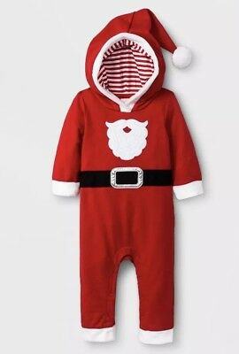 cat & jack infant christmas santa suit one piece red romper sz 3/6 months - Infant Santa Suit