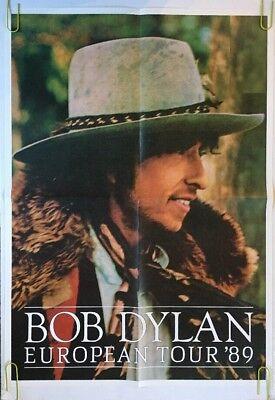 Vintage Bob Dylan Poster European Tour '89 Promo Pin-Up Music Memorabilia 1980's