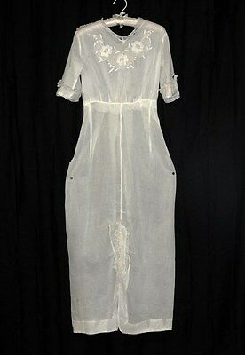 dress lace cotton white antique Victorian Edwardian long pegged repair  1900