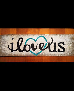 'I Love Us' Rustic Signs