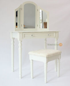 MAYFAIR BEDROOM DRESSING TABLE WITH MIRROR AND STOOL BEAUTY CHAIR OFF WHITE