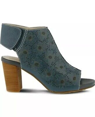 L'Artiste Fab Anthropologie Blue Leather Cutout Ankle Block Heel Sandal 38 7.5