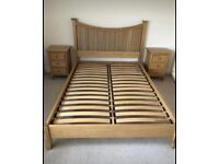 Willis & Gambier Solid Oak king size, double bed frame, 2 bedside tables