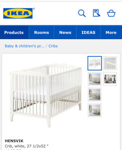 Ikea crib with mattress and bumper