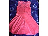 Stunning skater dress with lace cut out size 14 Boohoo coral