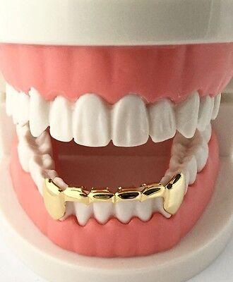 Gold Teeth Grills (Hip Hop 14K Gold GP Mouth Teeth Grills Half Bar Grillz - Bottom Lower S001-H)