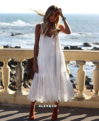 Nwt  Zara Ss17 Off White Eyelet Dress With Shimmery Straps 061 Bloggers S