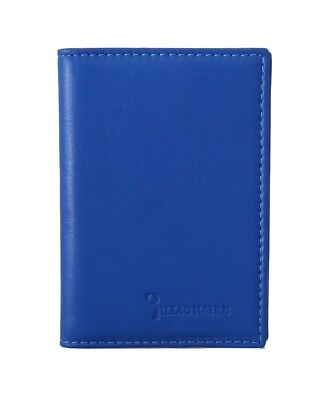 NEW $450 BILLIONAIRE COUTURE Mens Navy Blue Leather Bifold Logo Money Wallet