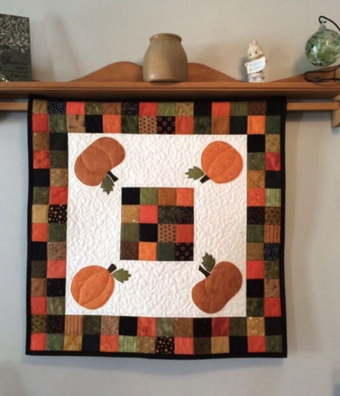 """Fall Pumpkin Wall Hanging or Table Topper Quilted Autumn Decor 28"""" x 28"""""""