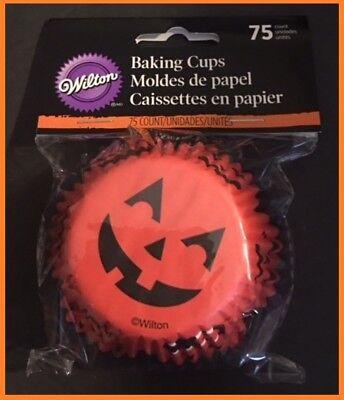 Jack-O-Lantern pumpkin Cupcake Liners Wilton 75ct #7084 Halloween NO PAYPAL](Halloween Cupcakes Jack)