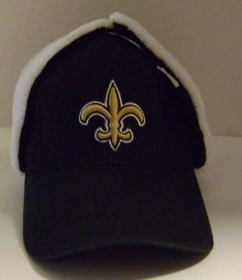 New Orleans Saints Hat NFL On Field Dog Ear One Size Winter Fleece Adjustable