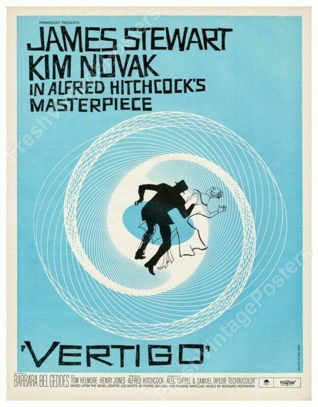 1958 Vertigo movie blue Saul Bass design full poster Alfred Hitchcock 18x24