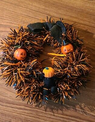 "VINTAGE Pumpkin GARLAND Halloween Wreath Burlap Bow 9"""