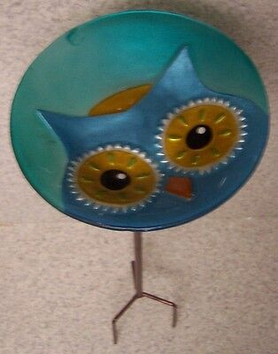 "Bird Feeder Bath One Owl Glass with metal stand NEW 8"" in diameter"