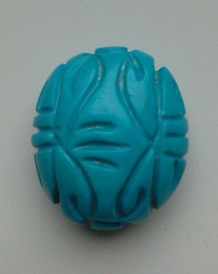 Carved Oval Blue Turquoise Gemstone Bead. 30 mm.  Jewellery Making/Bead Crafts