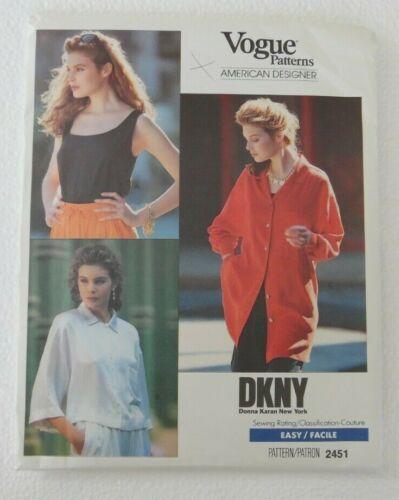 Vogue American Designer DKNY Donna Karan Tops 2451 cut size 6-8-10
