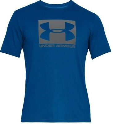 Mens New Under Armour Boxed Logo T-Shirt Training Top - Gym Running Fitness Blue