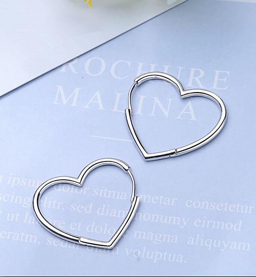 Jewellery - Hinged Hoop Sleeper Circle Heart 925 Sterling Silver Earrings Women Jewellery UK