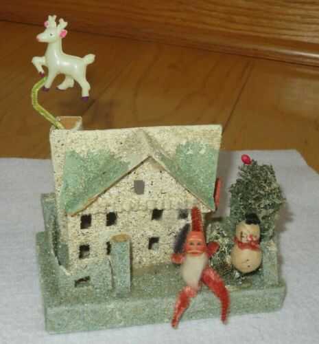 Antique HOUSE Christmas Village Paper Mache Cardboard Japan Santa Reindeer (T345