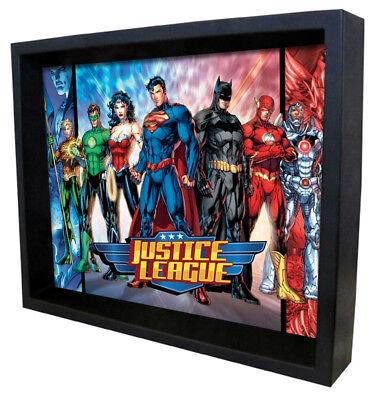 JUSTICE LEAGUE-SUPERHEROES 8x10 3D SHADOWBOX SUPERMAN WONDER WOMAN FLASH AQUAMAN](Cheap Shadow Boxes)