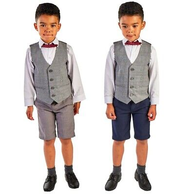 Short Suits For Boys (Boys Suits, 4 Piece Short Set Suit,  Baby Boys Grey Navy Suit Wedding Page boy)