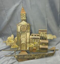 Old Vintage Metal Modern Art Wall Hanging Sculpture Clock Tower Curtis Jere