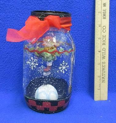 Christmas Mason Jar w/ Snowman Figurine Bouncing Bobble Head Spring Ganz Decor