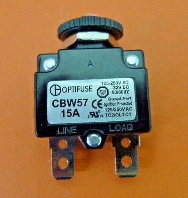 New Optifuse 15 Amp Panel Mount Circuit Breaker 125-250v Ac 32v Dc 5060hz Cbw57