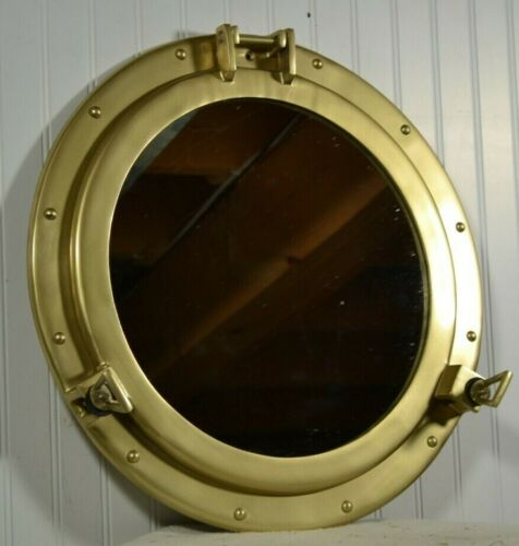 """20"""" Aluminum Porthole Mirror with a Antique Brass Finish"""