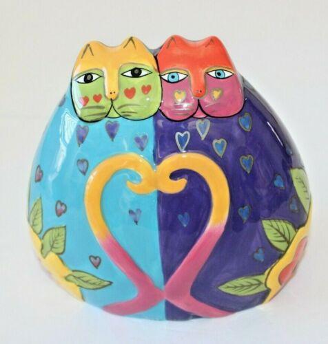 "LAUREL BURCH Colorful Double Cat Bank, Measures 6"" x 6"", Tails Form a Heart"