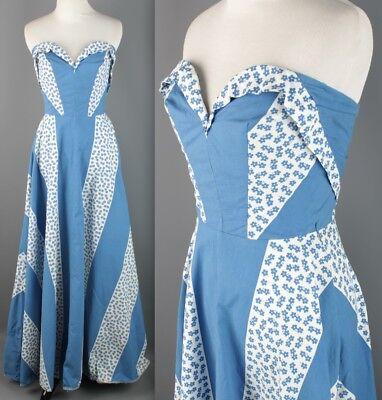 Vtg 40s Blue & White Cotton Strapless Dress #1752 1940s Formal Long Gown