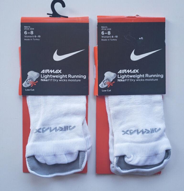New Unisex 2 Pairs Nike Fit Dry Running Socks White Low Cut Size Medium Vtg 2006