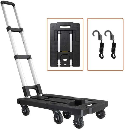 Portable Luggage Cart w/330Lb Capacity Aluminum Hand Truck and Dolly 7 Wheels