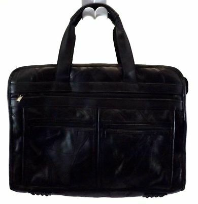 Patchwork Briefcase Crossbody Attache LAPTOP Messenger Bag BLACK LEATHER     for sale  Shipping to India
