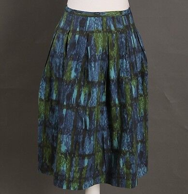 Talbots Skirt Sz 16 Blue Green A Line Pleated Knee Length Womens Ladies Plus