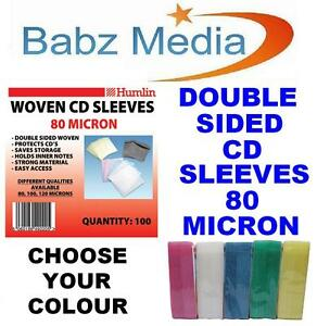 100-DOUBLE-SIDED-PLASTIC-CD-DVD-SLEEVES-WALLET-COVER-80-micron-5-COLOURS