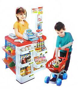 Kaufladen Kaufmannsladen Kinder Supermarkt mit Kasse Scanner Zubehör #1501