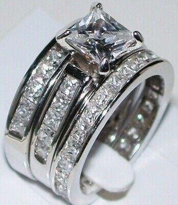 4CT Princess Cut Diamond Engagement Ring Wedding Bridal Set 14k White (Princess Cut Diamond Bridal Set 14k White Gold)
