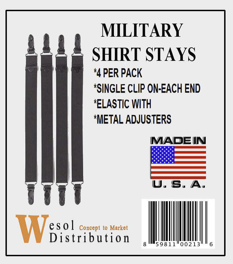 Military Shirt Stays 4-Pack S / T New  - $7.99