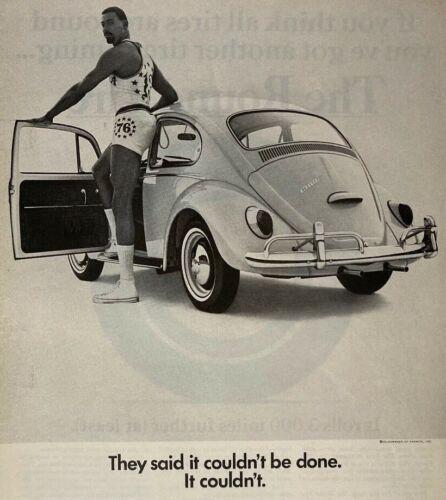 1966 Wilt Chamberlain Print Ad Volkswagen VW Beetle